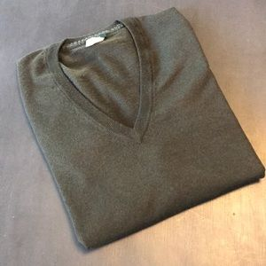 J. Crew v-neck sweater. Dark olive, medium.
